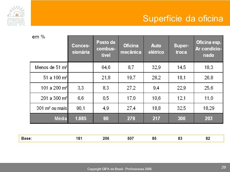 Monografia 2006 Copyright GIPA do Brasil - Profissionais 2006 29 em % Superfície da oficina Base: 181 206 507 85 83 82