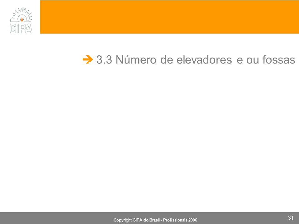 Monografia 2006 Copyright GIPA do Brasil - Profissionais 2006 31 3.3 Número de elevadores e ou fossas.