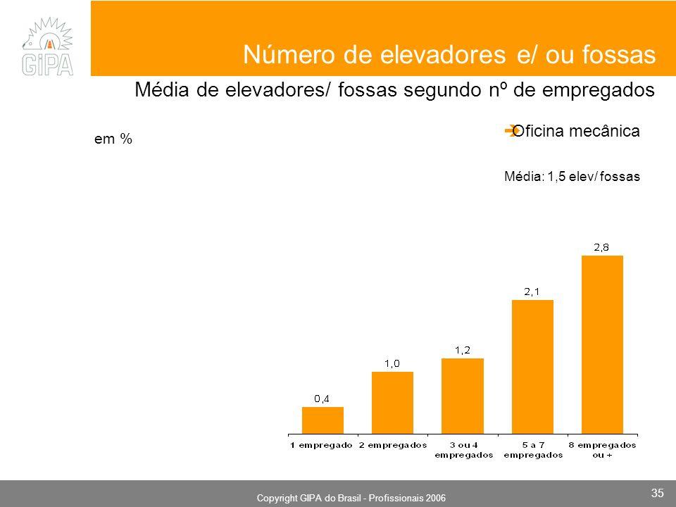 Monografia 2006 Copyright GIPA do Brasil - Profissionais 2006 35 em % Número de elevadores e/ ou fossas Média de elevadores/ fossas segundo nº de empregados Oficina mecânica Média: 1,5 elev/ fossas