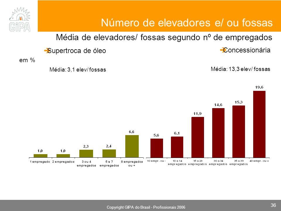 Monografia 2006 Copyright GIPA do Brasil - Profissionais 2006 36 em % Número de elevadores e/ ou fossas Supertroca de óleo Média: 3,1 elev/ fossas Concessionária Média: 13,3 elev/ fossas Média de elevadores/ fossas segundo nº de empregados