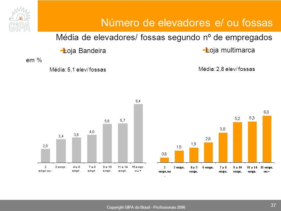 Monografia 2006 Copyright GIPA do Brasil - Profissionais 2006 37 em % Número de elevadores e/ ou fossas Média de elevadores/ fossas segundo nº de empregados Loja Bandeira Média: 5,1 elev/ fossas Loja multimarca Média: 2,8 elev/ fossas