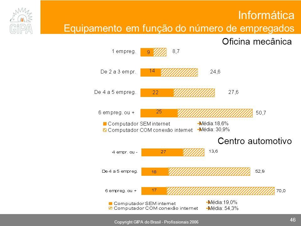 Monografia 2006 Copyright GIPA do Brasil - Profissionais 2006 46 Informática Equipamento em função do número de empregados Oficina mecânica Centro automotivo Média:18,6% Média: 30,9% Média:19,0% Média: 54,3%