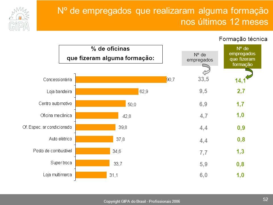Monografia 2006 Copyright GIPA do Brasil - Profissionais 2006 52 Nº de empregados que realizaram alguma formação nos últimos 12 meses Nº de empregados 33,5 6,9 9,5 4,7 Nº de empregados que fizeram formação 14,1 Formação técnica 2,7 1,7 1,0 0,9 0,8 1,3 0,8 1,0 4,4 7,7 5,9 6,0 % de oficinas que fizeram alguma formação: