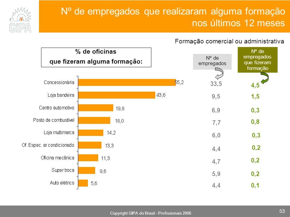 Monografia 2006 Copyright GIPA do Brasil - Profissionais 2006 53 Nº de empregados que realizaram alguma formação nos últimos 12 meses Nº de empregados Nº de empregados que fizeram formação 4,5 Formação comercial ou administrativa 1,5 0,3 0,8 0,3 0,2 0,1 33,5 6,9 9,5 7,7 6,0 4,4 4,7 5,9 4,4 % de oficinas que fizeram alguma formação: