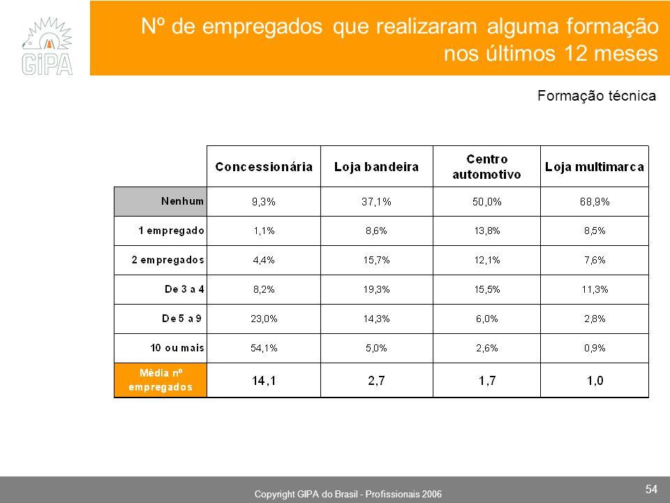 Monografia 2006 Copyright GIPA do Brasil - Profissionais 2006 54 Nº de empregados que realizaram alguma formação nos últimos 12 meses Formação técnica