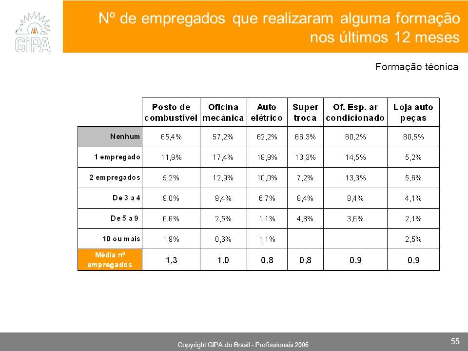 Monografia 2006 Copyright GIPA do Brasil - Profissionais 2006 55 Nº de empregados que realizaram alguma formação nos últimos 12 meses Formação técnica