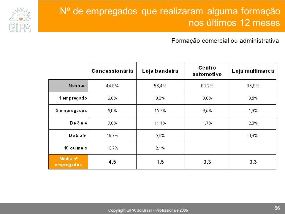 Monografia 2006 Copyright GIPA do Brasil - Profissionais 2006 56 Nº de empregados que realizaram alguma formação nos últimos 12 meses Formação comerci