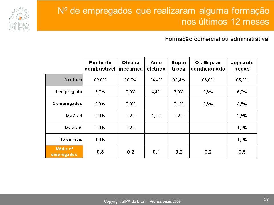Monografia 2006 Copyright GIPA do Brasil - Profissionais 2006 57 Nº de empregados que realizaram alguma formação nos últimos 12 meses Formação comercial ou administrativa