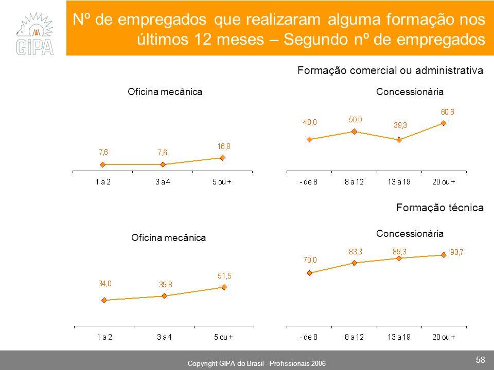 Monografia 2006 Copyright GIPA do Brasil - Profissionais 2006 58 Oficina mecânicaConcessionária Nº de empregados que realizaram alguma formação nos úl