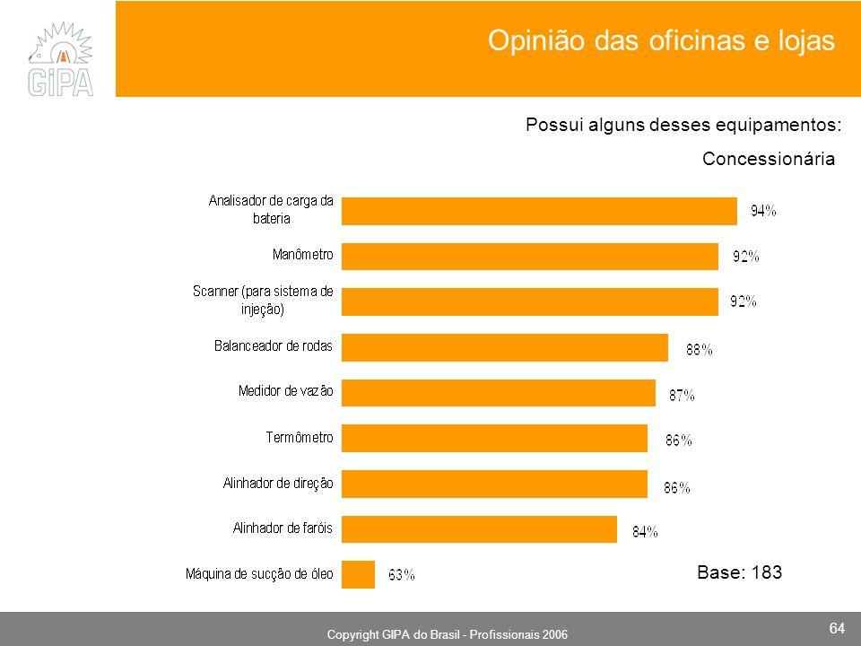 Monografia 2006 Copyright GIPA do Brasil - Profissionais 2006 64 Concessionária Base: 183 Possui alguns desses equipamentos: Opinião das oficinas e lojas