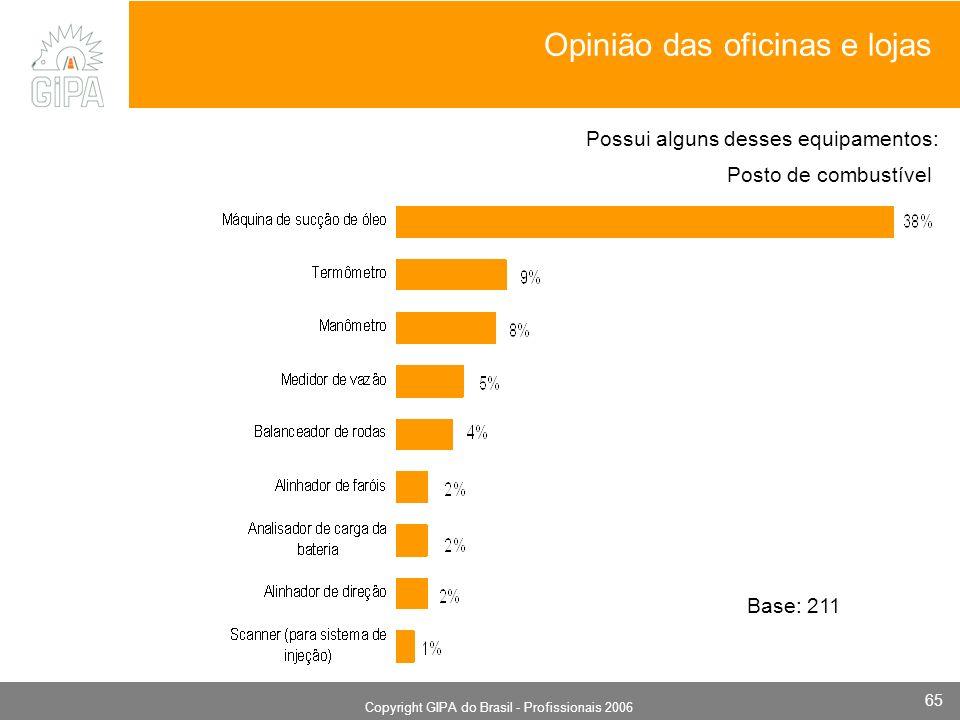 Monografia 2006 Copyright GIPA do Brasil - Profissionais 2006 65 Posto de combustível Base: 211 Possui alguns desses equipamentos: Opinião das oficina
