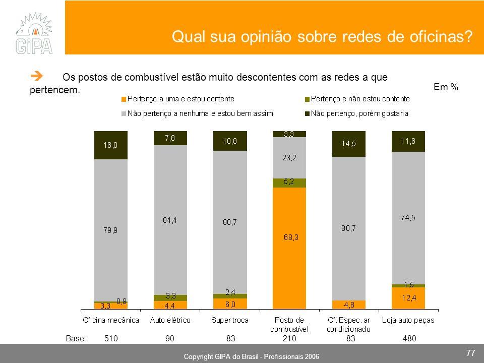 Monografia 2006 Copyright GIPA do Brasil - Profissionais 2006 77 Qual sua opinião sobre redes de oficinas? Em % Base: 510 90 83 210 83 480 Os postos d