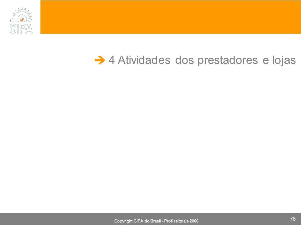 Monografia 2006 Copyright GIPA do Brasil - Profissionais 2006 78 4 Atividades dos prestadores e lojas.