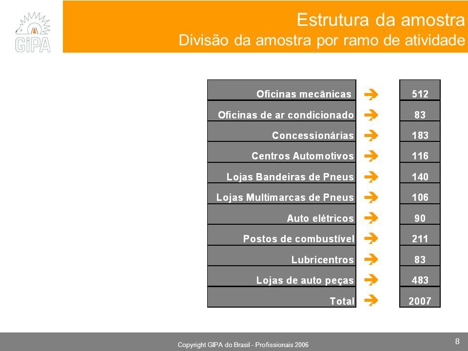 Monografia 2006 Copyright GIPA do Brasil - Profissionais 2006 8 Estrutura da amostra Divisão da amostra por ramo de atividade.