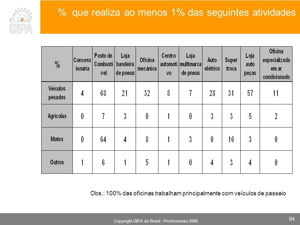 Monografia 2006 Copyright GIPA do Brasil - Profissionais 2006 84 % que realiza ao menos 1% das seguintes atividades Obs.: 100% das oficinas trabalham principalmente com veículos de passeio