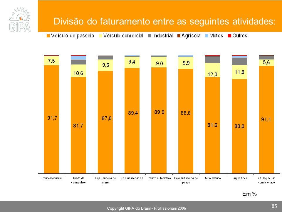 Monografia 2006 Copyright GIPA do Brasil - Profissionais 2006 85 Divisão do faturamento entre as seguintes atividades: Em %