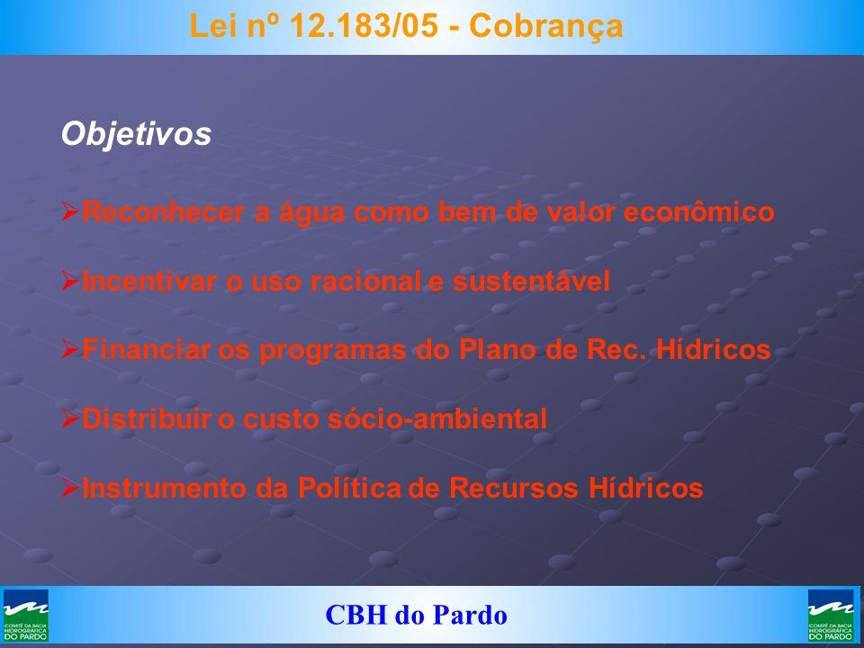 CBH do Pardo Lei nº 12.183/05 - Cobrança Objetivos Reconhecer a água como bem de valor econômico Incentivar o uso racional e sustentável Financiar os
