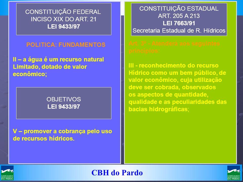 CBH do Pardo Art. 3º - Atenderá aos seguintes princípios: III - reconhecimento do recurso Hídrico como um bem público, de valor econômico, cuja utiliz
