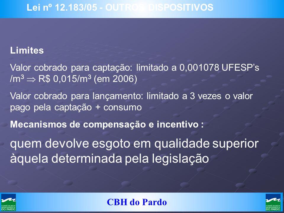 CBH do Pardo Lei nº 12.183/05 - OUTROS DISPOSITIVOS Limites Valor cobrado para captação: limitado a 0,001078 UFESPs /m 3 R$ 0,015/m 3 (em 2006) Valor