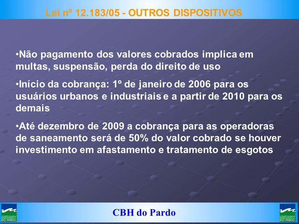 CBH do Pardo Lei nº 12.183/05 - OUTROS DISPOSITIVOS Não pagamento dos valores cobrados implica em multas, suspensão, perda do direito de uso Início da