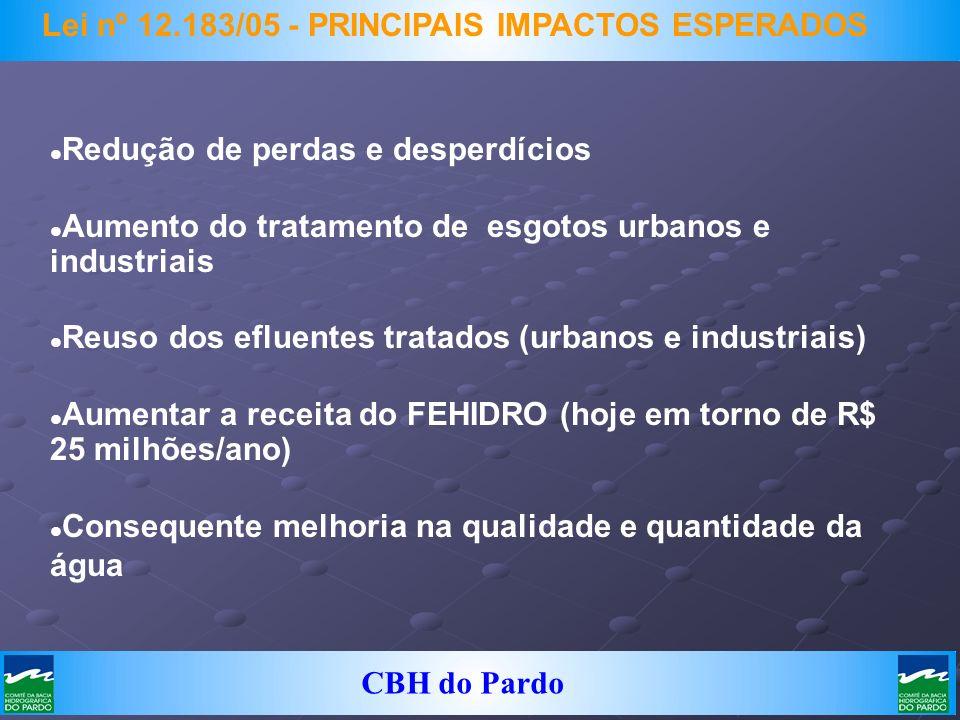 CBH do Pardo Lei nº 12.183/05 - PRINCIPAIS IMPACTOS ESPERADOS Redução de perdas e desperdícios Aumento do tratamento de esgotos urbanos e industriais