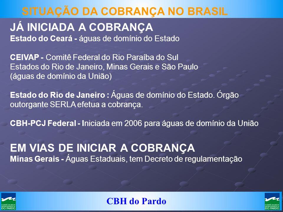 CBH do Pardo JÁ INICIADA A COBRANÇA Estado do Ceará - águas de domínio do Estado CEIVAP - Comitê Federal do Rio Paraíba do Sul Estados do Rio de Janei