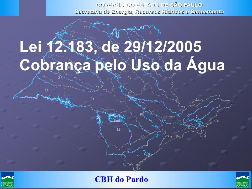 CBH do Pardo 22 21 20 19 18 15 17 16 14 13 11 10 6 7 2 1 3 5 8 12 4 9 Lei 12.183, de 29/12/2005 Cobrança pelo Uso da Água GOVERNO DO ESTADO DE SÃO PAU