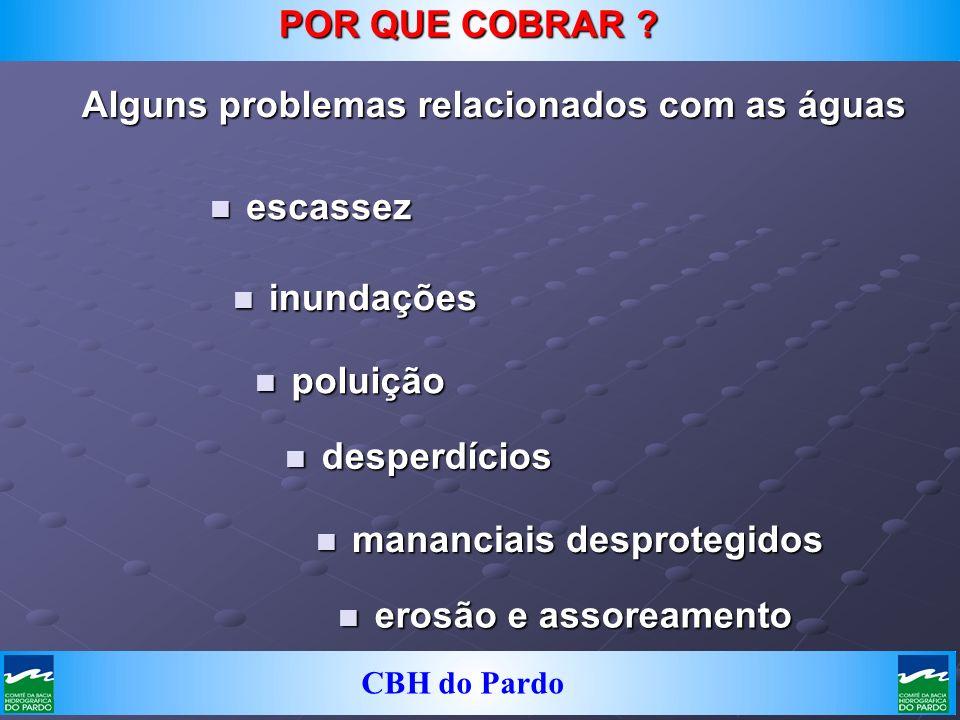 CBH do Pardo Alguns problemas relacionados com as águas n poluição n inundações n escassez n mananciais desprotegidos n desperdícios POR QUE COBRAR ?