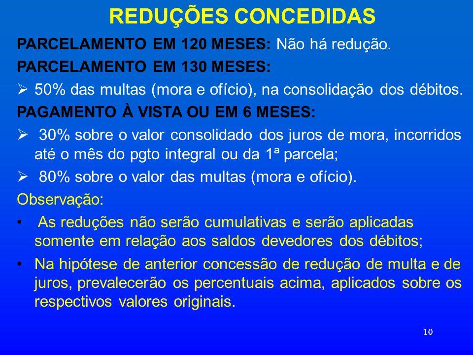 10 REDUÇÕES CONCEDIDAS PARCELAMENTO EM 120 MESES: Não há redução. PARCELAMENTO EM 130 MESES: 50% das multas (mora e ofício), na consolidação dos débit