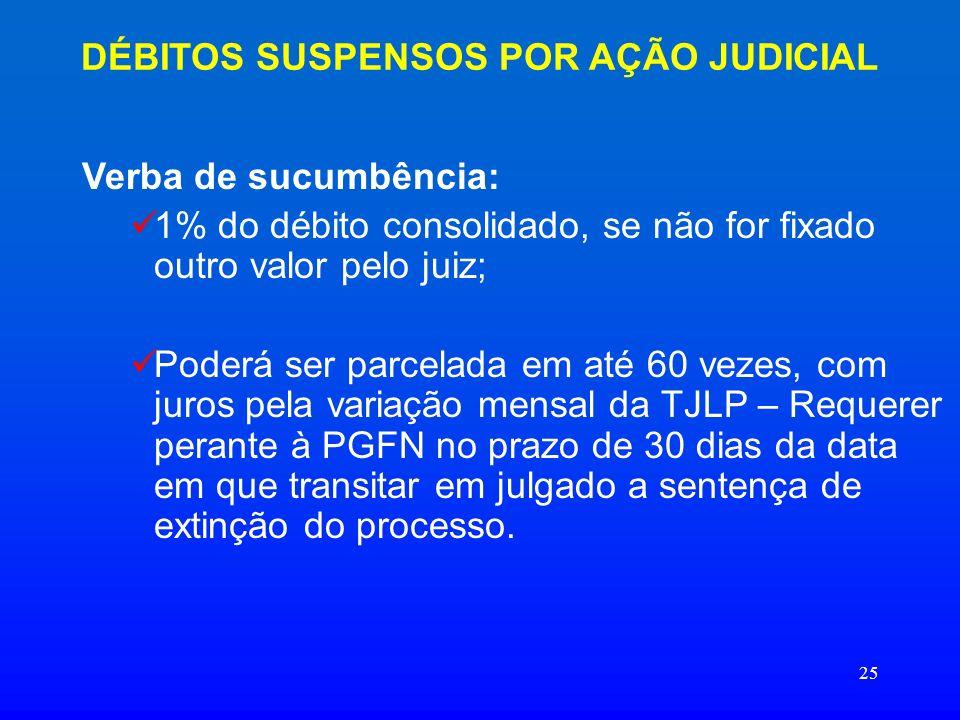 25 DÉBITOS SUSPENSOS POR AÇÃO JUDICIAL Verba de sucumbência: 1% do débito consolidado, se não for fixado outro valor pelo juiz; Poderá ser parcelada e