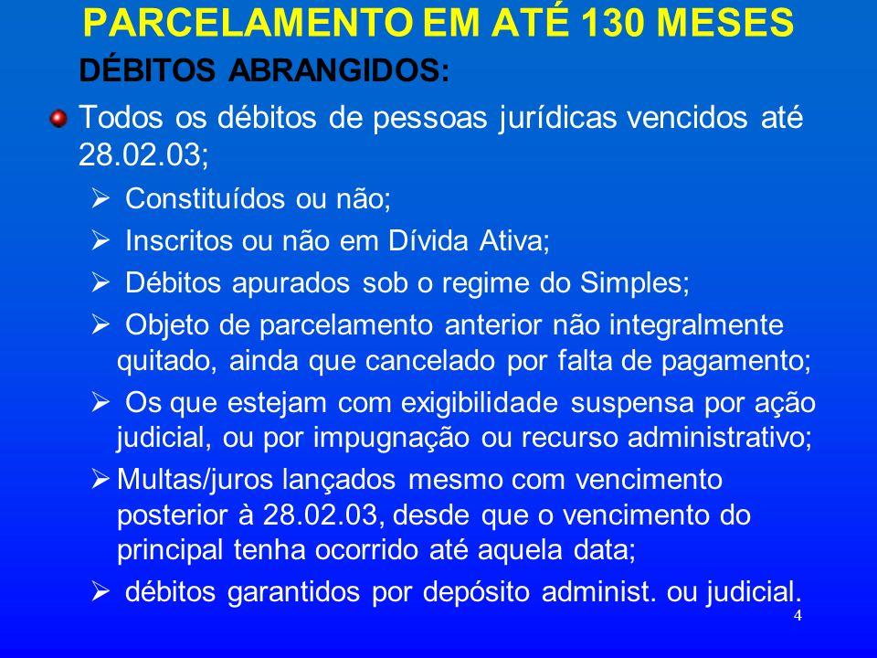 15 DAS PRESTAÇÕES PARCELAMENTO EM 130 MESES: VALOR DA PRESTAÇÃO: 1/130 do débito consolidado VALOR MÍNIMO ATÉ A CONSOLIDAÇÃO DO DÉBITO: R$ 200,00, para optantes pelo Simples; R$ 2.000,00, para as demais pessoas jurídicas.