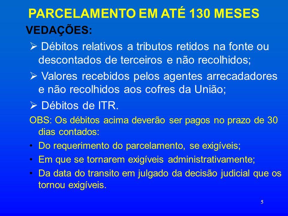 16 DAS PRESTAÇÕES PARCELAMENTO EM 6 VEZES: Valor da Prestação: 1/6 do valor do débito consolidado, por grupo de tributo, observado o valor mínimo de R$ 200,00, por grupo de tributo.
