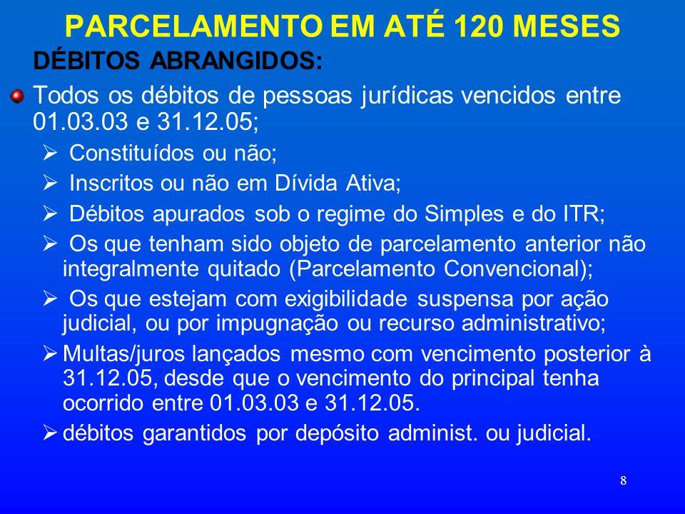 8 PARCELAMENTO EM ATÉ 120 MESES DÉBITOS ABRANGIDOS: Todos os débitos de pessoas jurídicas vencidos entre 01.03.03 e 31.12.05; Constituídos ou não; Ins