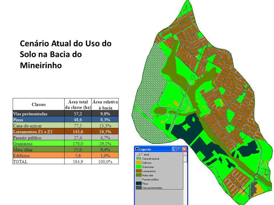 Cenário Atual do Uso do Solo na Bacia do Mineirinho Classes Área totalÁrea relativa da classe (ha) à bacia Vias pavimentadas57,29,8% Pinus48,68,3% Cana-de-açúcar77,513,3% Loteamentos Z1 e Z2143,624,5% Passeio público27,44,7% Gramíneas170,029,1% Mata ciliar55,09,4% Edifícios5,61,0% TOTAL584,9100,0%