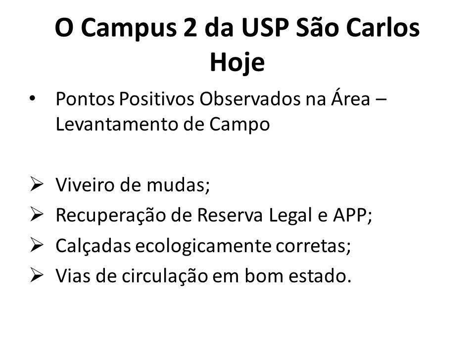 O Campus 2 da USP São Carlos Hoje Pontos Positivos Observados na Área – Levantamento de Campo Viveiro de mudas; Recuperação de Reserva Legal e APP; Calçadas ecologicamente corretas; Vias de circulação em bom estado.