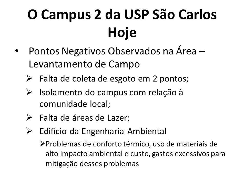 O Campus 2 da USP São Carlos Hoje Pontos Negativos Observados na Área – Levantamento de Campo Falta de coleta de esgoto em 2 pontos; Isolamento do cam