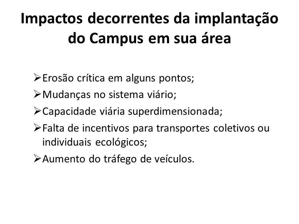 Impactos decorrentes da implantação do Campus em sua área Erosão crítica em alguns pontos; Mudanças no sistema viário; Capacidade viária superdimensio