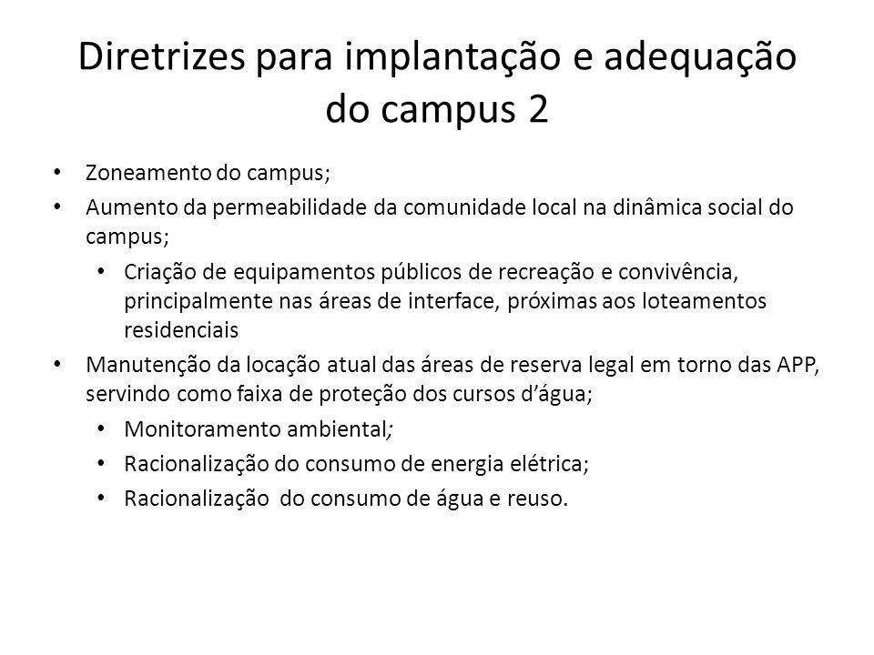 Diretrizes para implantação e adequação do campus 2 Zoneamento do campus; Aumento da permeabilidade da comunidade local na dinâmica social do campus;