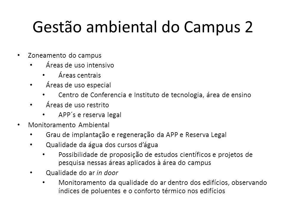 Gestão ambiental do Campus 2 Zoneamento do campus Áreas de uso intensivo Áreas centrais Áreas de uso especial Centro de Conferencia e Instituto de tec