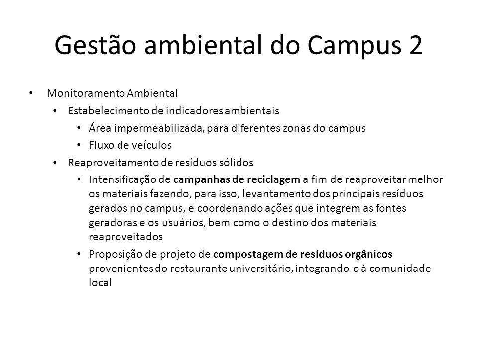 Gestão ambiental do Campus 2 Monitoramento Ambiental Estabelecimento de indicadores ambientais Área impermeabilizada, para diferentes zonas do campus