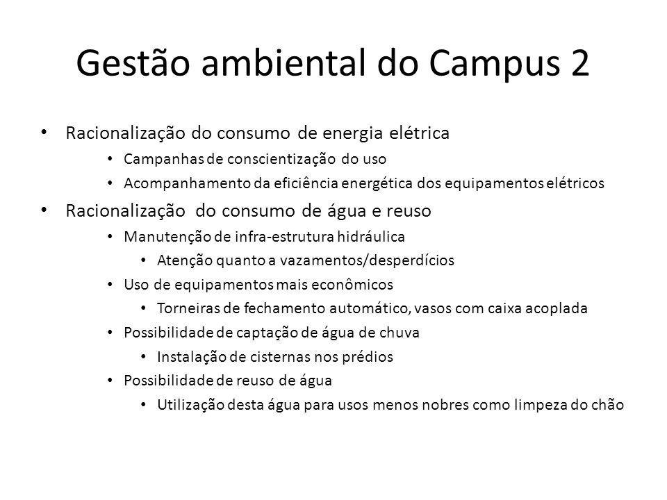 Gestão ambiental do Campus 2 Racionalização do consumo de energia elétrica Campanhas de conscientização do uso Acompanhamento da eficiência energética