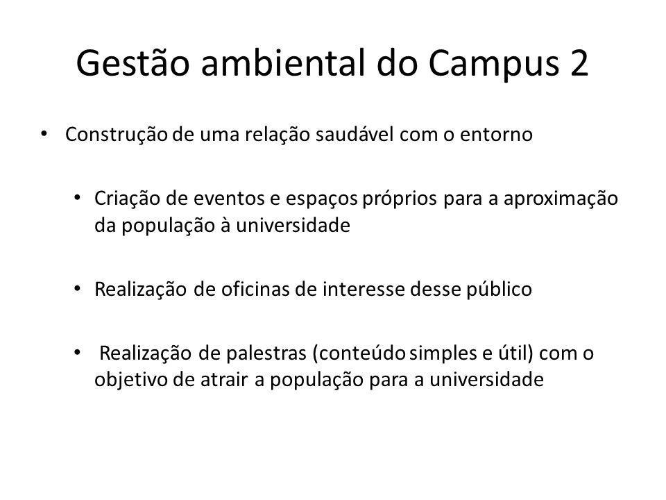 Gestão ambiental do Campus 2 Construção de uma relação saudável com o entorno Criação de eventos e espaços próprios para a aproximação da população à