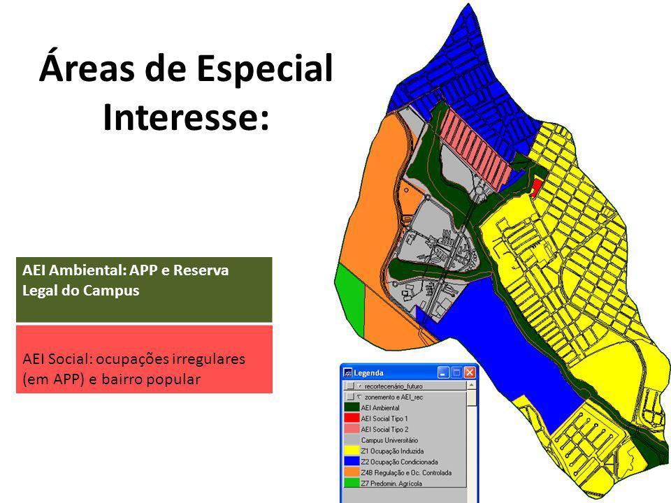 Áreas de Especial Interesse: AEI Social: ocupações irregulares (em APP) e bairro popular AEI Ambiental: APP e Reserva Legal do Campus