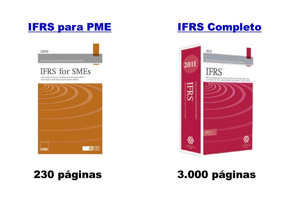 IFRS para PME IFRS Completo 230 páginas 3.000 páginas