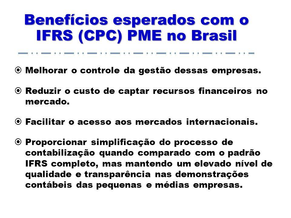 Benefícios esperados com o IFRS (CPC) PME no Brasil Melhorar o controle da gestão dessas empresas.
