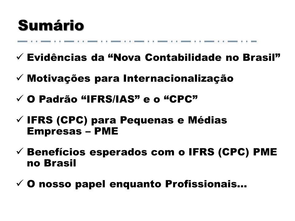 Sumário Evidências da Nova Contabilidade no Brasil Motivações para Internacionalização O Padrão IFRS/IAS e o CPC IFRS (CPC) para Pequenas e Médias Empresas – PME Benefícios esperados com o IFRS (CPC) PME no Brasil O nosso papel enquanto Profissionais...