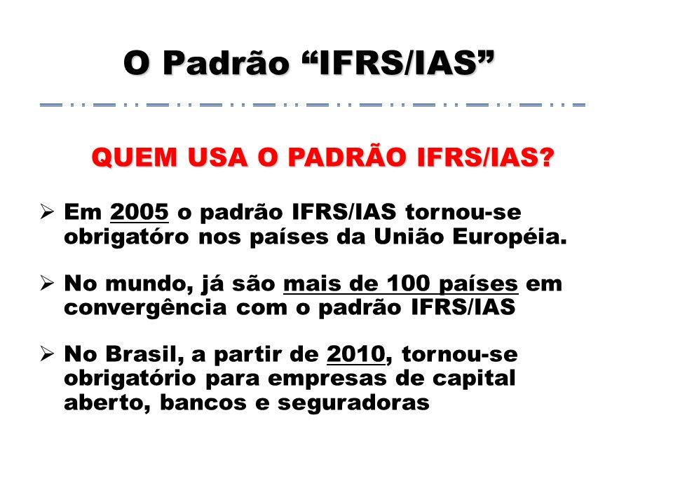 O Padrão IFRS/IAS QUEM USA O PADRÃO IFRS/IAS.
