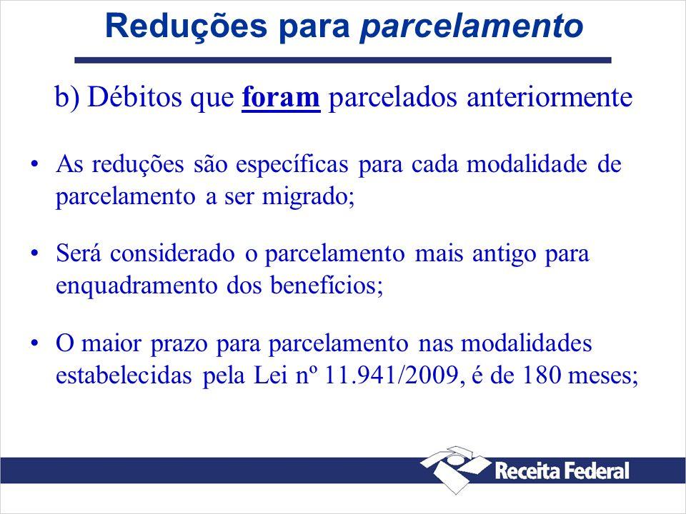 Reduções para parcelamento b) Débitos que foram parcelados anteriormente As reduções são específicas para cada modalidade de parcelamento a ser migrad