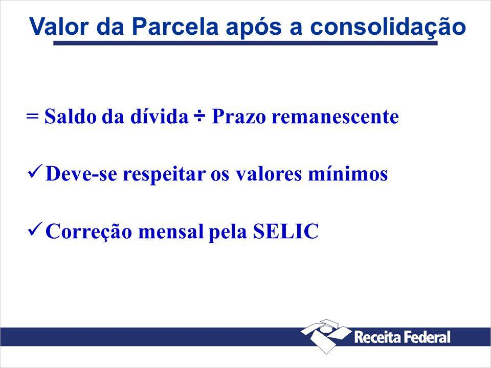 Valor da Parcela após a consolidação = Saldo da dívida ÷ Prazo remanescente Deve-se respeitar os valores mínimos Correção mensal pela SELIC