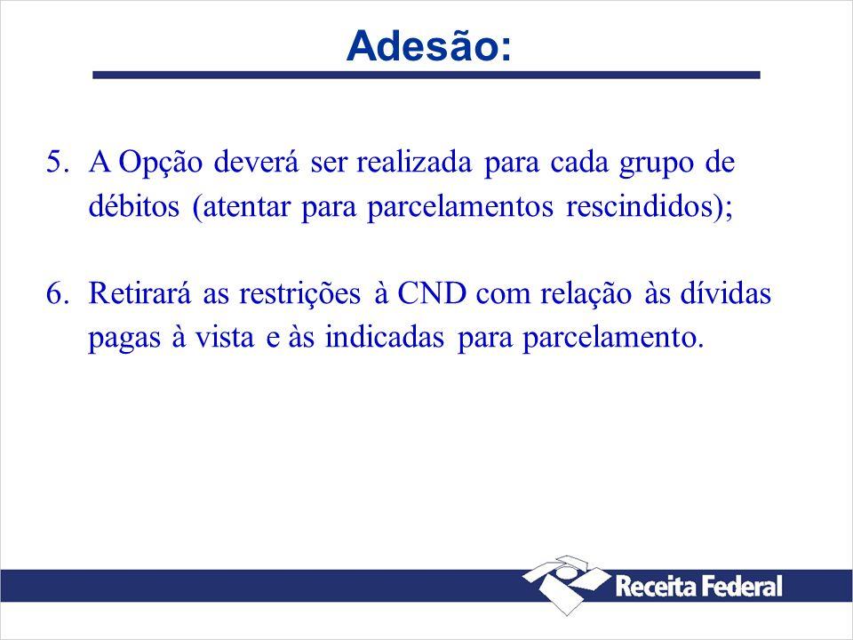 Adesão: 5. 5.A Opção deverá ser realizada para cada grupo de débitos (atentar para parcelamentos rescindidos); 6. 6.Retirará as restrições à CND com r